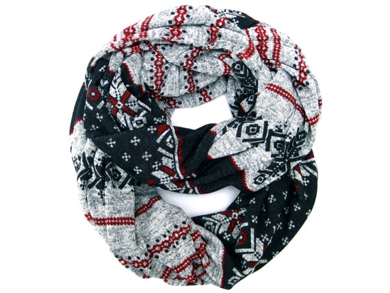 Cute Holiday Infinity Scarf Winter Soft Cozy Snowflake Eternity Scarf Black Grey Red Tube Scarf Warm Fun Winter Womens Teen Fashion Scarf