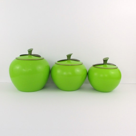vintage 1960s green apple canisters set of 3 aluminum by twomoxie