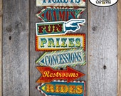 Carnival Party Arrow Signs | Circus Party Arrow Signs | Carnival Circus Party Signs | Directional Signs | Red Blue Yellow | Printable