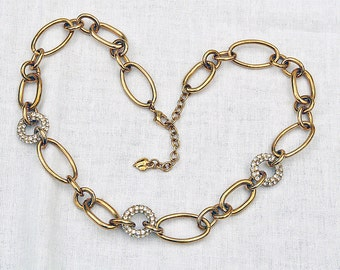 vintage Carolee large chain link and rhinestone necklace