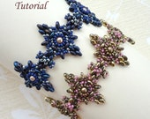 TWIN DIAMONDS beaded bracelet beading tutorials and patterns superduo beadwork jewelry beadweaving tutorials beading pattern instructions