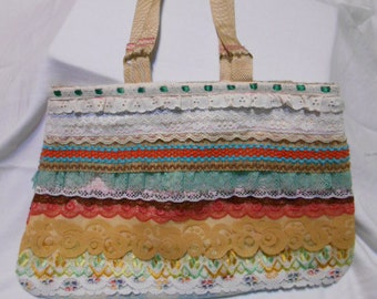 Handmade purse, Vintage Lace
