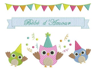 Instant download owl embroidery design machine