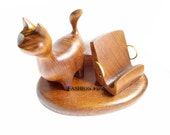 """New Wooden Stand """"CAT"""" , New IPhone 5/4S/4/3GS Wood Table Stand. Unique Handcrafted Natural Ash-Tree"""