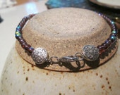 "ankle bracelet glass beaded -iridescent 4mm  10 "" long to fit any ankle toggle or lobster claw clasp"