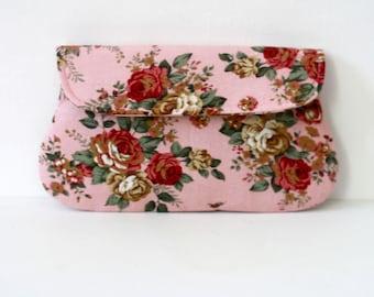 Pink Clutch, Shabby chic rose clutch, rustic wedding clutch, bridesmaid gift, bridesmaid clutch