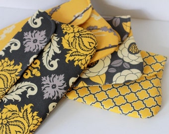 set of 4 - yellow and gray bridesmaid clutch, wedding clutch, bridesmaid gift