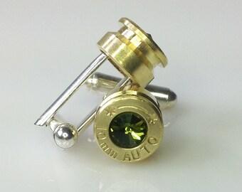 Olivine Green10MM Bullet Casing Cufflinks