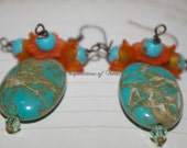 Turquoise and Flower Earrings
