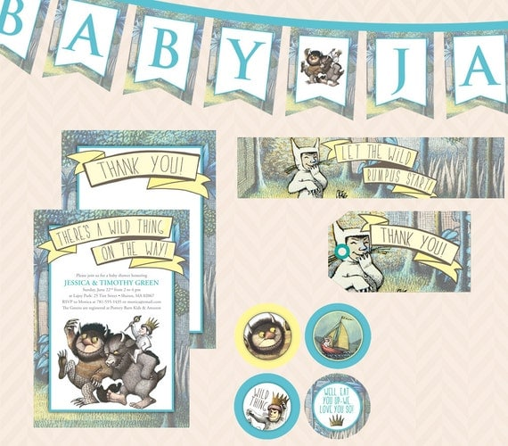 where the wild things are baby shower invitation thank you,