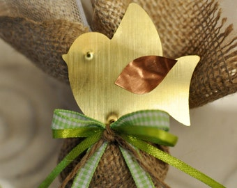 Little bird brooch and natural burlap filled with candies-brass baby shower favor - bridal shower favor-  Greek baptism bomboniere
