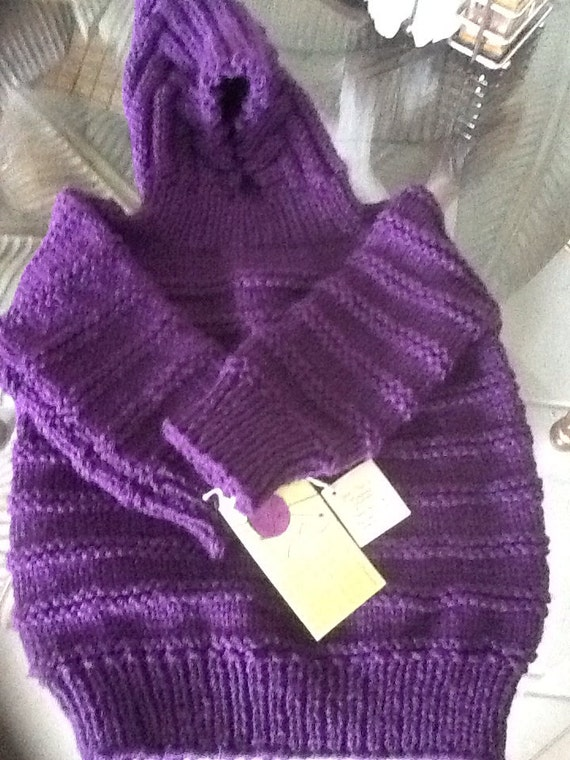 Hand knit hooded baby sweater zips up the by UniqueBabySweaters