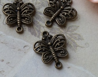 18 x 14 mm Antiqued Bronze Little Butterfly Charms / Connectors (.mhc)