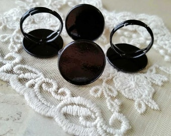 20 mm Copper Adjustable Ring Findings / Black Color Sprayed (fit for 18 mm buttons) (.hm)