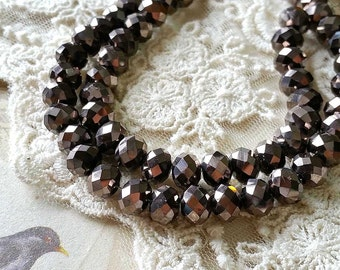 6 x 8 mm 48 Faceted Cut Rondelle Metallic Gunmetal Color Glass / Crystal / Lamp work Beads (.mng)