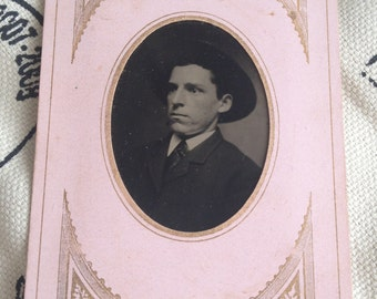 Vintage Antique Tin Type Photo of Very Serious Man