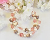 Bracelet Double Strand Pink Quartz Freshwater Pearl Mother of Pearl 8 Inches Handmade