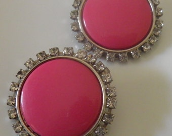 Large Hot Pink Clip Rhinestone Disc Earrings