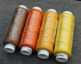 Four spools of linen thread - Autumn colourway