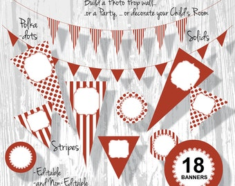 Red Banner, Christmas Banner, Birthday Banner, PDF Editable Banner Red Stripe Polka Dot Pennants 3 Sizes 18 Banners : BA0201 3s0350