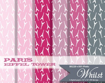 Paris digital paper, digital Eiffel backgrounds pinks for digital invitation graphics printables : B0220 v301 Pinks