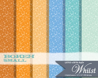 Bokeh digital paper in 6 colors, small confetti background paper for small commercial personal use : L0304 v301k AqOr