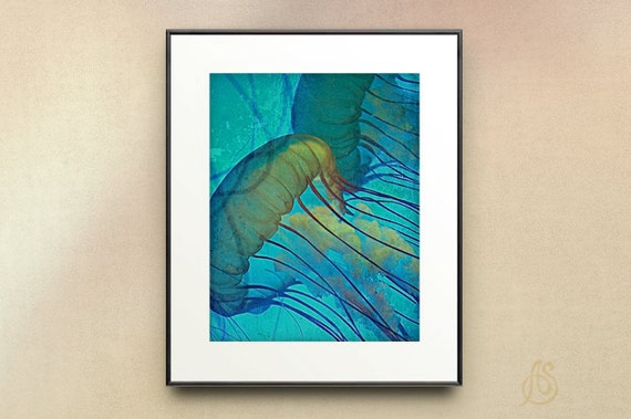 Jellyfish Art // Sea Life // Teal Blue Ocean // Home Decor // Fine Art Photograph // 5x7 8x10 11x14 Print