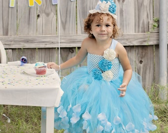 Turquoise Shabby Chic Birthday Tutu Dress with rose petals for Girls size 6, 7/8 or 9/10  and birthday hat