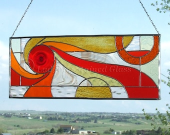 Abstract Geometric Stained Glass Panel In Warm Colors, Reds, Oranges, Golds