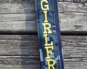 US Navy Girlfriend Lanyard Navy NWU Fabric Yellow Embroidered Lanyard Military Embroidered Lanyard Armed Forces Lanyard