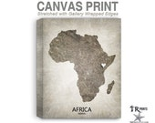 Africa Map Stretched Canvas Print - Home Is Where The Heart Is Love Map - Original Personalized Map Print on Canvas