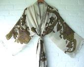 kimono style robe cream colored brown yellow pink green paisley pattern elegant long