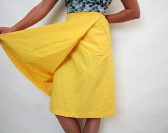 Vintage 70s Yellow Cotton Wrap Skirt