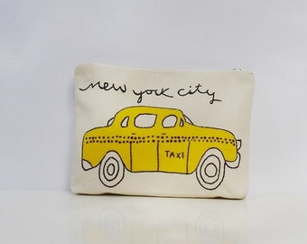 New york taxi appliqued canvas pencil pouch bag, Handmade item, classic heavy duty canvas pouch Cosmetic bag, Pencil case