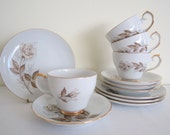 VINTAGE 1960s WESTMINSTER Damask Rose trio - set of four, tea coffee cup, saucer, plate