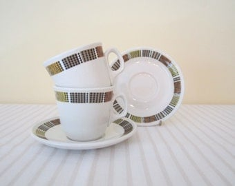 RETRO 1960s Ridgway Steelite cup and saucer - set of 2, pair, Tweed pattern, hotel ware