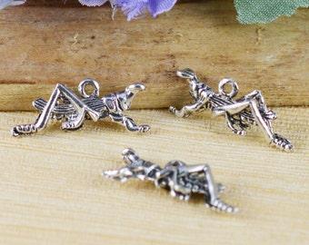 25pcs Antique Silver Grasshopper Charm Pendants 10x23mm A504-5