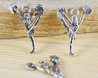 25pcs Antique Silver Girl Cheerleader Charm Pendants 17x26mm AB103-3