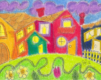 "Original ACEO OOAK Lowbrow Outsider Art ""The Neighborhood"" Ink Acrylic Painting Oil Pastel Watercolor folk punk goth art"