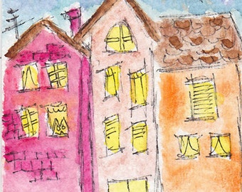 """Original ACEO OOAK Lowbrow Outsider Art """"Another Neighborhood"""" Ink Acrylic Painting Oil Pastel Watercolor folk punk goth art"""