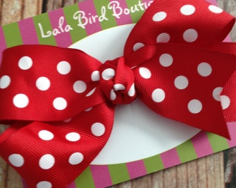 Large Boutique Style Hairbow - Red Polka Dot