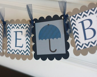 """Navy Blue and Grey Chevron - """"Its a Boy"""" or """"Welcome Baby"""" Umbrella Baby Banner Baby Shower Banner - Ask About Party Pack Specials"""