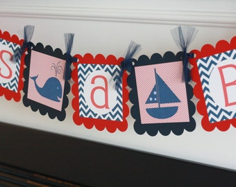 """Whale Sailboat Nautical Navy Blue and Red Chevron """"It's a Boy"""" or Custom Name Baby Shower Banner - Free Ship Over 65.00"""