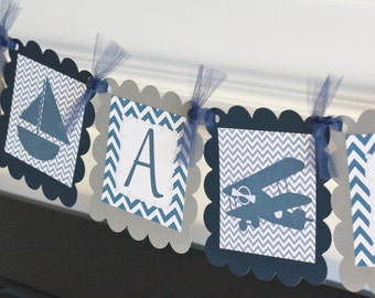 """Navy Blue and Grey Chevron - """"Its a Boy"""" Airplane Plane Sailboat Boy Baby Shower Banner - Ask About Party Pack Specials"""