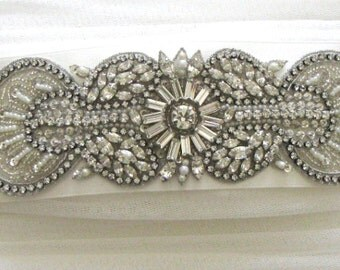 Jewelled bridal belt or crystal sash - Ariadne Smokey