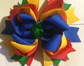 Lego inspired hair bow, blue, yellow, red and green...back to school colors