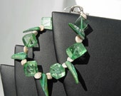 Green Cubes, Sea Shells and Shark Teeth Shaped Shells Bracelet