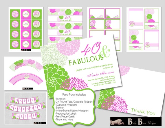 40 & Fabulous 40th Birthday Party Pack - Green and Purple Party Supplies