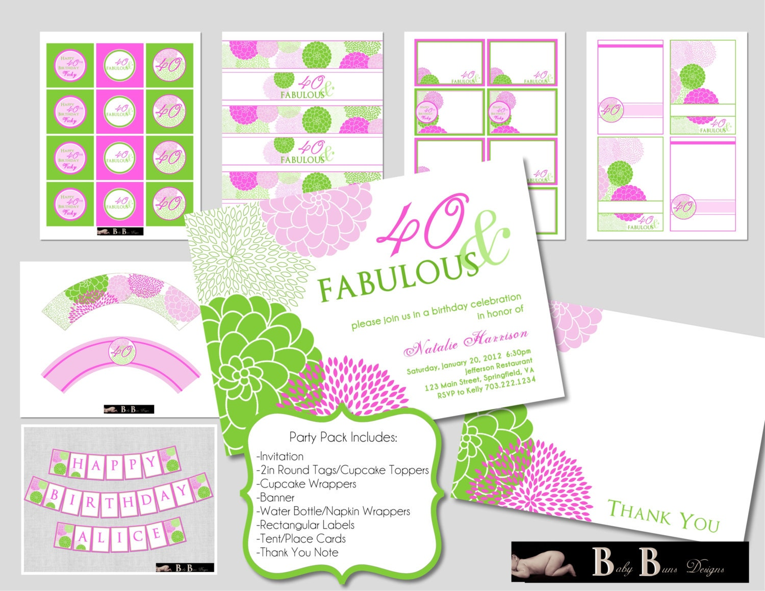40 fabulous 40th birthday party pack green and purple for 40th birthday decoration packs