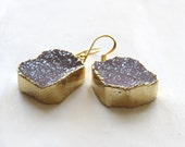 LIGHT DRUZY EARRINGS, Freeform Pale Druzy, Dangles, Gold, Dipped, Edged, Plated, Boho, Jewelry, Geode, Earthy